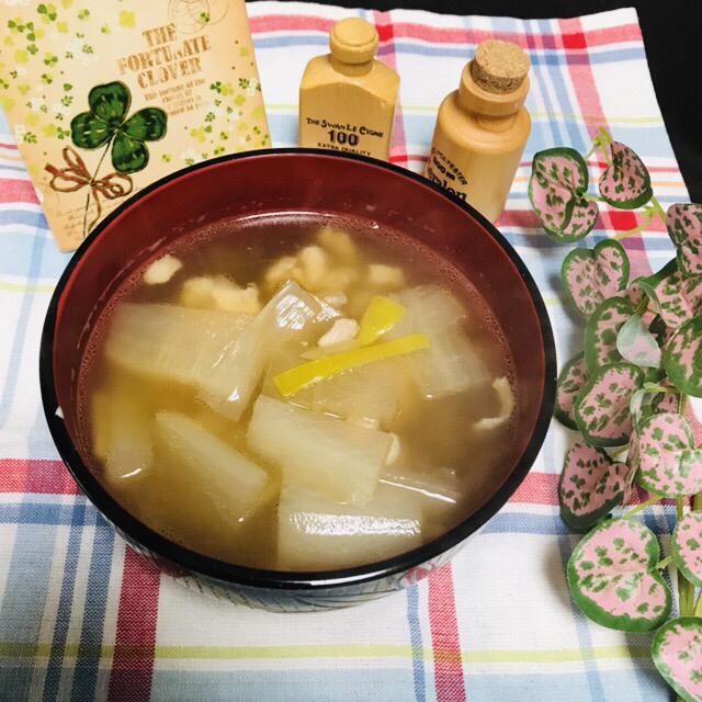 鶏肉と大根 ネギ生姜スープ