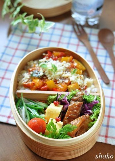 続オクラとカポナータ丼のお弁当