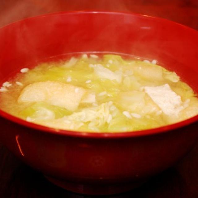 キャベツと薄揚げの味噌汁