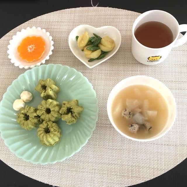 【離乳食完了期〜幼児食】お子様ランチ♡小松菜とバナナの蒸しドーナツ&カブと豚団子のスープ