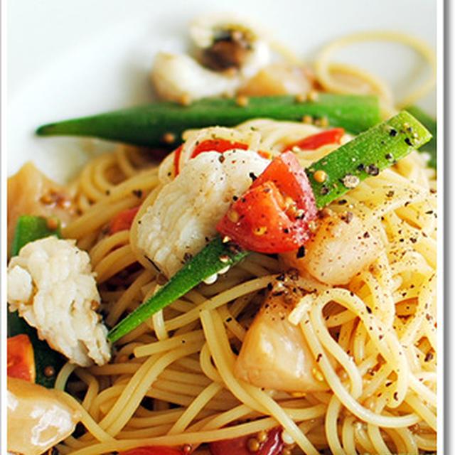 鱧と帆立、オクラの冷製スパゲッティーニにタスマニア産粒マスタードを添えて