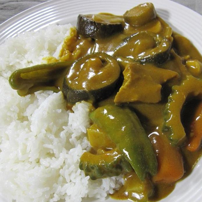 白いお皿に盛られたご飯とカレーのルウ