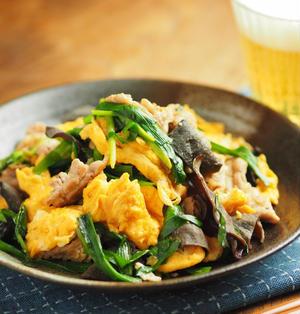 豚肉とにら、きくらげの卵炒め、木須肉(ムーシーロー)