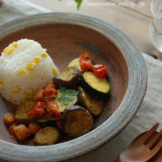 夏野菜とウインナーのカレーマスタード煮