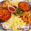 チリビーンズと豚肉ファヒータでタコス♪ Chili Beans Tacos