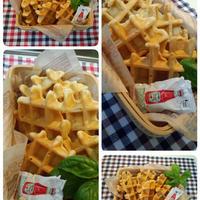 ツナ&チーズと蓮根&チーズのデザートワッフル