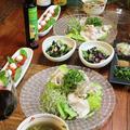 ◆冷しゃぶサラダにタコとオクラの梅和え♪~緩やか糖質制限中 by fellowさん