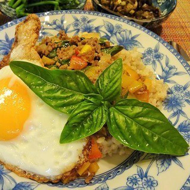 オレンジ色のゴーヤのサラダ♪ ガパオライス の晩ごはん
