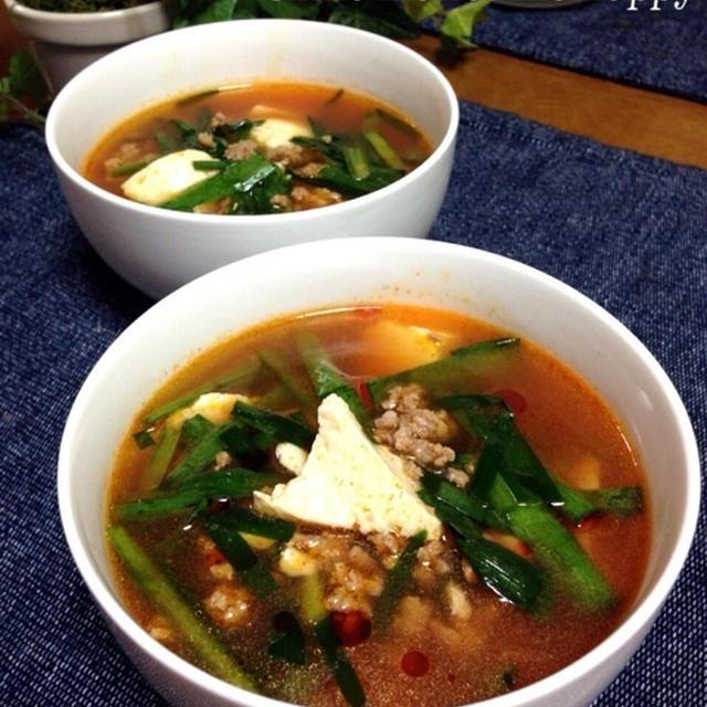 超簡単♪豚ひき肉豆腐のコクうまスープ♡めっちゃ美味しいよ♡