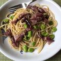 蛍烏賊と空豆のペペロンチーノ&黒メバルの干物