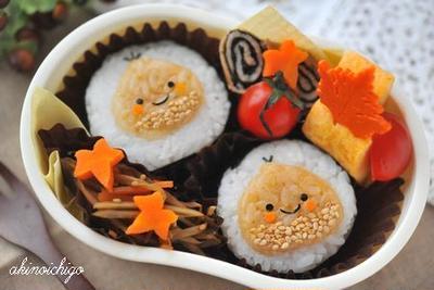 【連載】レシピブログ「栗の貼り付けオニギリのお弁当」