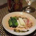 まるでホワイトアスパラ、ねいも、鯉のキャベツづつみ、つみれと春キャベツのくたくた煮、
