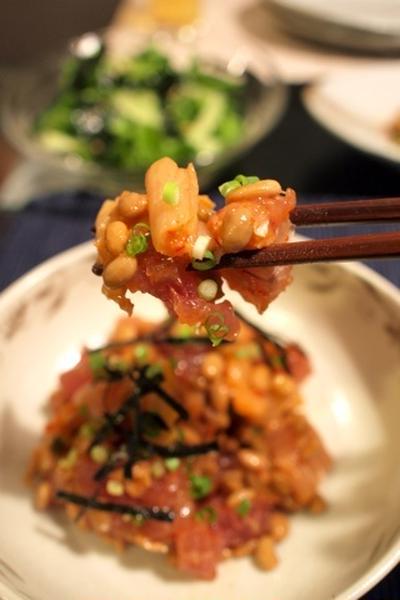 簡単おつまみキムチとろっ豆マグロ和え