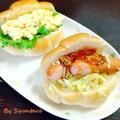 【簡単・サンド】休日の朝ごはんやピクニックに『たまごサラダとソーセージのバターロールサンド』