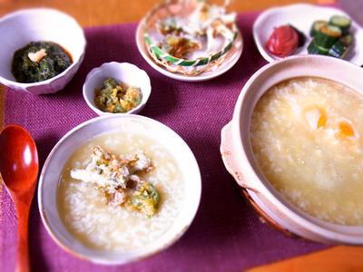 玄米茶の茶粥・ほろ苦い春定食