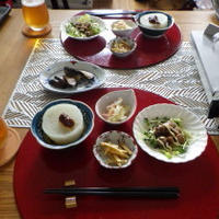 9/2の昼→夕ごはん ラム&牛のしゃぶしゃぶと小鉢で(^_-)-☆