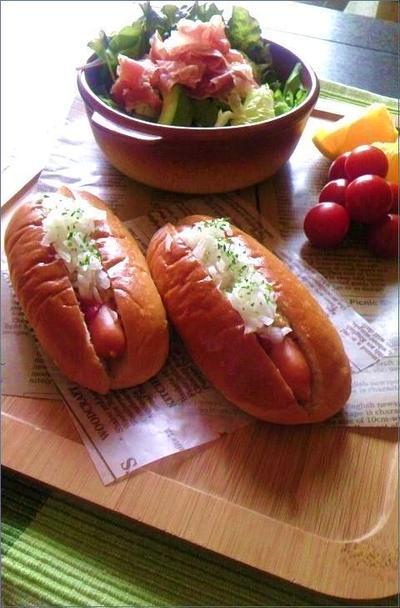 【レシピ】ホットドッグと生ハム・アボガドのサラダdeワンプレート