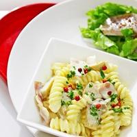 【プチ贅沢レシピ♡】ベーコンとエリンギのクリームチーズパスタ と ぶりのマリネサラダのレシピ♡