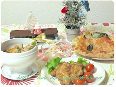クリスマス プリザーブドフラワーとディナー