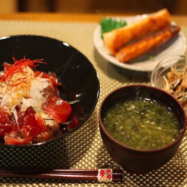 鰹の韓国風漬け丼 キノコの大葉マリネ