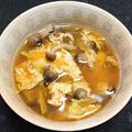 ミョウガとブナシメジの卵とじ汁、アトランティックサーモンの刺身