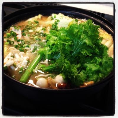 大人味★わさび菜とマグロのみぞれ鍋