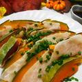 かぼちゃと豚肉のはさみ蒸し♪ごま油とポン酢で食欲アップ
