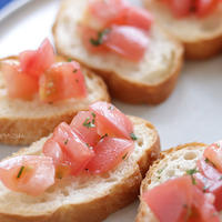 簡単おつまみ!塩トマトのブルスケッタ!トマト嫌いな子たちが美味しい!と食べたよ【ボーソー米油部】