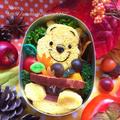 プーさんの秋の収穫祭♬【キャラ弁】/パンプキンハニーブレッド(卵入り)