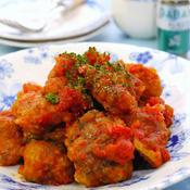 揚げ鯖のオレガノトマト煮込み