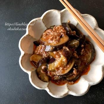 レンジで6分!麻婆茄子風*茄子と挽き肉のピリ辛煮