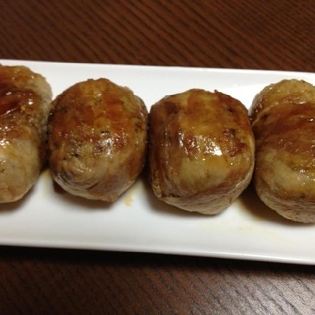 おつまみレシピ:肉巻きおにぎり(ゆかり入り)
