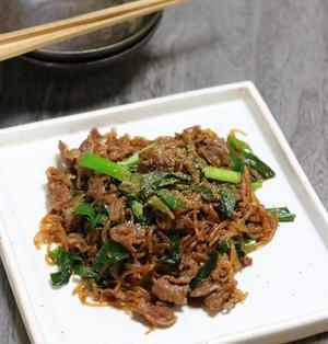 《レシピ》牛肉と糸こんにゃくの炒め煮。