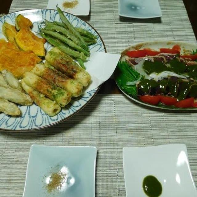 天ぷら4種とカツオのたたき^0^