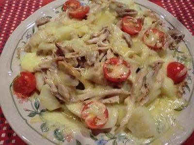 ノンオイル ローストチキンとポテトのチーズ焼き