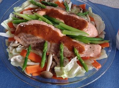 ノルウェーサーモンと食物繊維たっぷり野菜の蒸し焼き