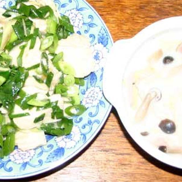 白菜のクリーム煮と鶏肉とネギの炒め物