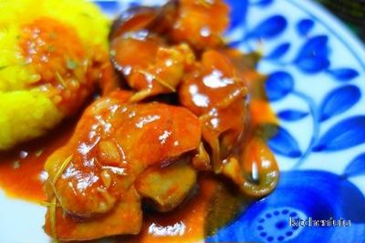 鶏肉と茄子のトマト煮込み☆トマトジュースとケチャップで☆