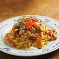 レシピブログ連載、水戻しスパゲティと電子レンジで、温玉カルボナーラ by 筋肉料理人さん