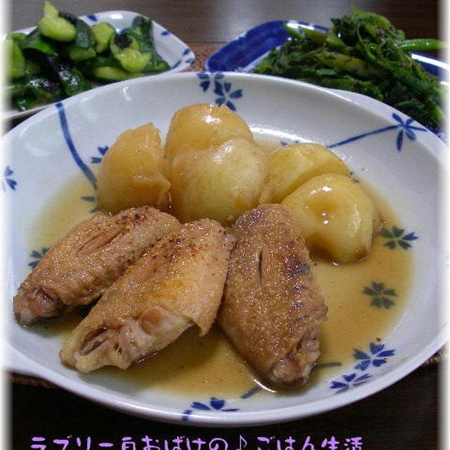 鶏手羽とジャガイモのピリ辛炒め煮。