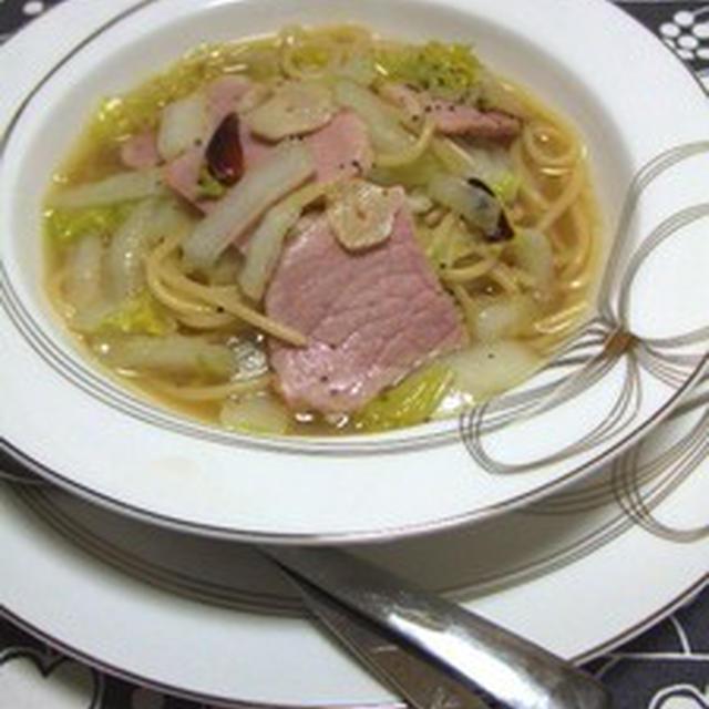 ハムと白菜のスープパスタ@こまこレシピ