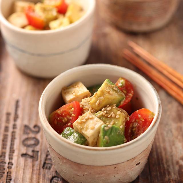 豆腐とアボカドとトマトのおつまみサラダ【#簡単 #時短 #和えるだけ #ヘルシー #おつまみ #副菜】