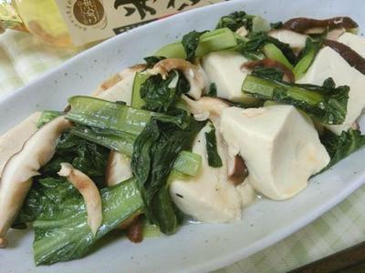 あっさりめが深美味い♪ ターサイと椎茸と豆腐のオイスターソース炒め