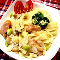 夏野菜のパスタ☆クリームソース