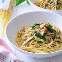 【AGNESI】スパゲティ1.7㎜で作る『舞茸と三つ葉の和風ペペロンチーノ』