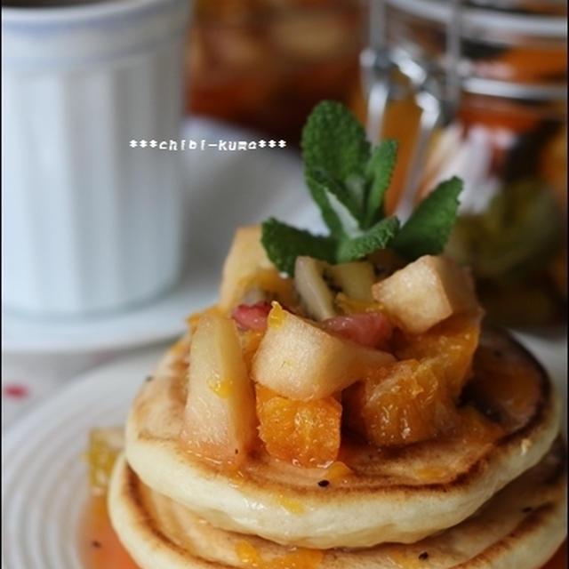 ネーブル・ミントフルブラフルーツソースの、豆腐パンケーキ♪