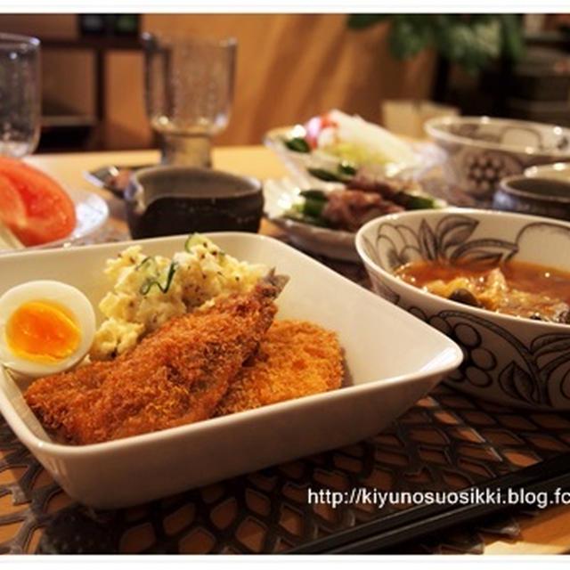 食べるスープと揚げ物2種でカフェ風夜ごはん。