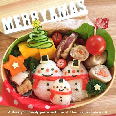 クリスマス☆スノーマンおにぎり弁当♫