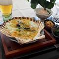 津軽の郷土料理、貝焼き味噌 de 昼酌