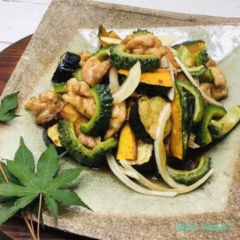 群馬県産にがうりと鶏肉と夏野菜の揚げびたし